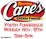 Raising Cane's Fundraiser – Nov. 18th – 11am till 8pm